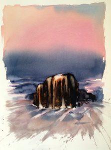 Birgitta Steen udstiller sine akvareller i Galleri Blæst